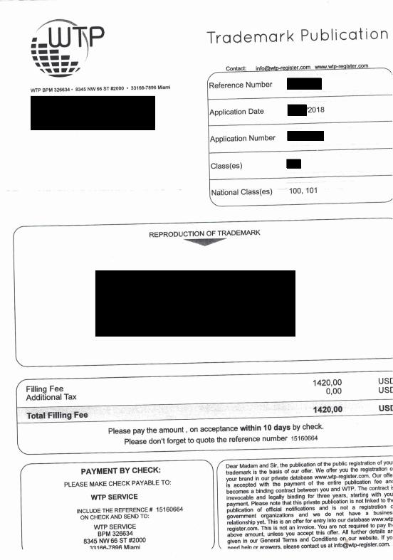 WTP invoice sample
